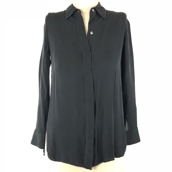 6d382e66d957d8 Vince Classic Black 100% Silk Button Down Shirt. M 5bbbe7c5aa87709db0f3ba51